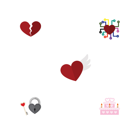 Flat Icon Heart Set Of Divorce, Emotion, Key And Other Vector Objects. Also Includes Cake, Wings, Broken Elements. Illustration