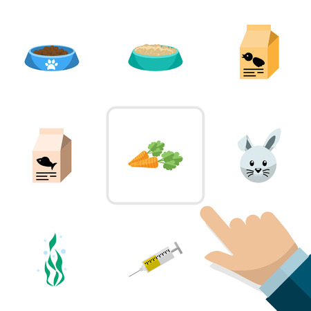 Flat Icon Pets Set Of Cat  Eating, Vaccine, Fish Nutrient And Other Vector Objects. Also Includes Water, Nutrient, Seaweed Elements. Stock Vector - 87282374