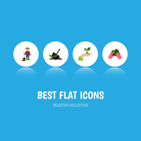 Flat Icon Sow Set Of Soil, Care, Plant And Other Vector Objects. Also Includes Farmer, Hand, Soil Elements. Illustration
