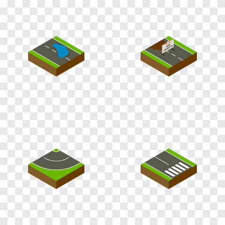 Isometric Way Set Of Pedestrian, Plash, Repairs And Other Vector Objects. Also Includes Pedestrian, Bitumen, Road Elements.
