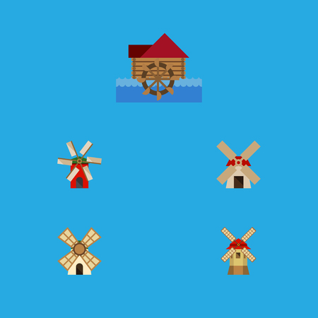 watermill: Flat Icon Energy Set Of Watermill, Turbine, Propeller And Other Vector Objects. Also Includes Power, Windmill, Ecology Elements. Illustration