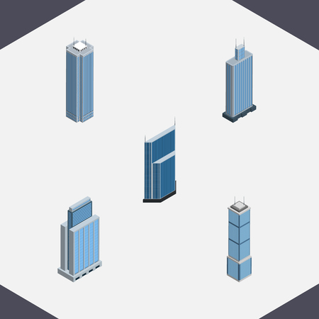 residential homes: Isometric Construction Set Of Skyscraper, Urban, Apartment And Other Vector Objects. Also Includes Cityscape, Tower, Business Elements.