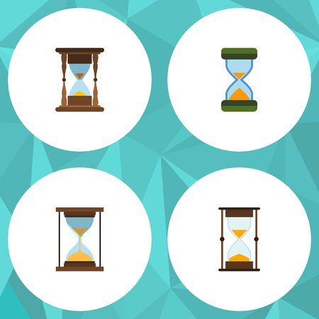 clock: Flat Icon Sandglass Set Of Instrument, Measurement, Minute Measuring And Other Vector Objects