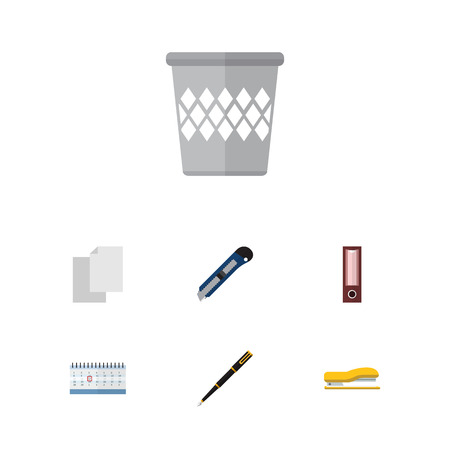 onderwijs: Flat Icon Tool Set Of Nib Pen, Date Block, Supplies And Other Vector Objects
