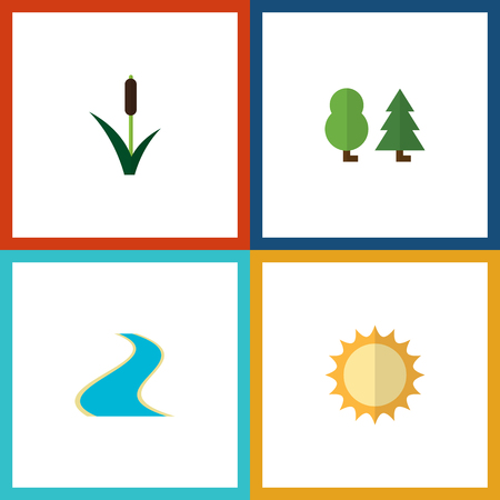 park: Flat Icon Nature Set Of Tributary, Solar, Cattail And Other Vector Objects