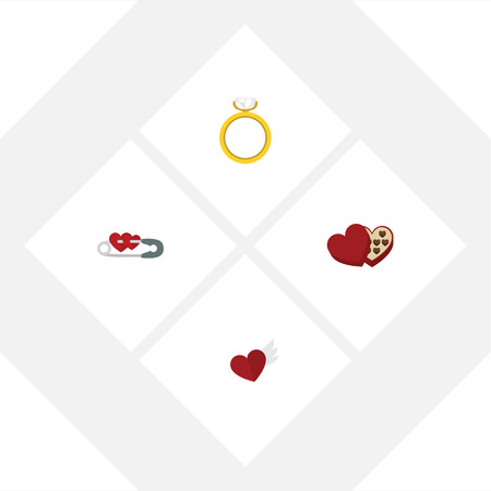 Flat Icon Heart Set of Closed, Shaped Box, Engagement y otros objetos vectoriales