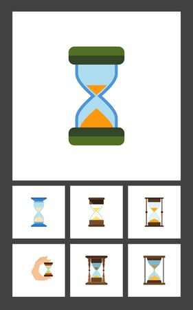 clock: Flat Icon Sandglass Set Of Sand Timer, Sandglass, Waiting Vector Objects