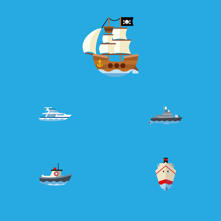 Flat Icon Boat Set Of Transport, Vessel, Ship And Other Vector Objects Illustration