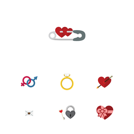 accessory: Flat Icon Passion Set Of Sexuality Symbol, Key, Closed And Other Vector Objects Illustration