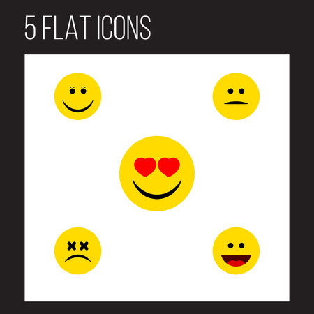 Flat Icon Emoji Set Of Joy, Laugh, Cross-Eyed Face And Other Vector Objects