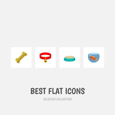 accessory: Flat Icon Animal Set Of Feeding, Kitty Collar, Fishbowl And Other Vector Objects Illustration