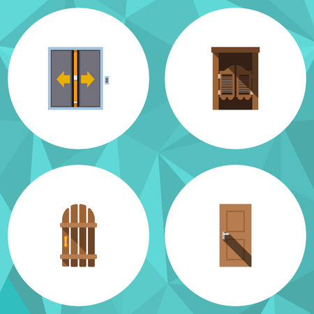 interior design: Flat Icon Approach Set Of Wooden Fence, Entrance, Saloon And Other Vector Objects