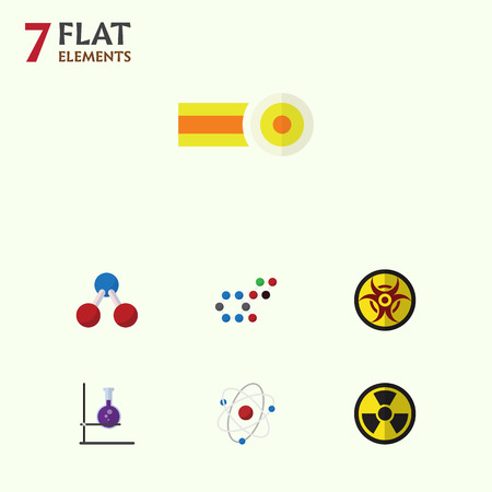 onderwijs: Flat Icon Science Set Of Danger, Chemical, Flask And Other Vector Objects Stock Illustratie