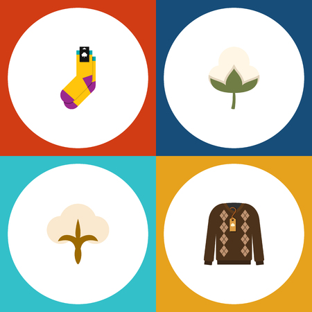 Flat Icon Fiber Set Of Cotton, Hosiery, Pullover And Other Vector Objects Illustration