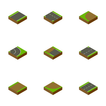 Isometric Way Set Of Incomplete, Upwards, Unilateral And Other Vector Objects Çizim