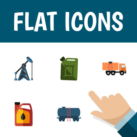 heavy industry: Flat Icon Oil Set Of Rig, Jerrycan, Van And Other Vector Objects