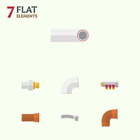 Flat Icon Plumbing Set Of Pipework, Drain, Corrugated Pipe And Other Vector Objects Illustration