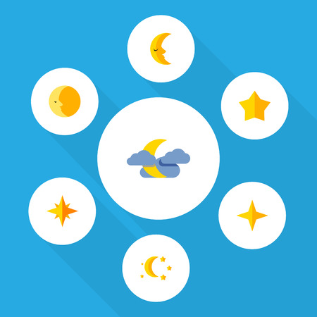 Flat Icon Bedtime Set Of Asterisk, Star, Bedtime And Other Vector Objects Illustration