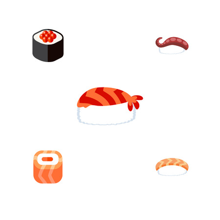 Flat Icon Salmon Set Of Gourmet, Sashimi, Seafood And Other Vector Objects