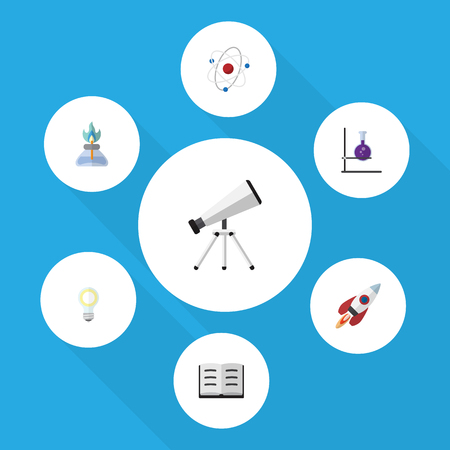 onderwijs: Flat Icon Study Set Of Flame, Lecture, Spaceship And Other Vector Objects