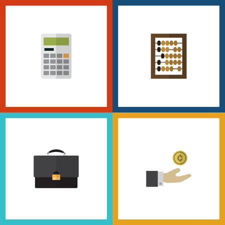 onderwijs: Flat Icon Incoming Set Of Calculate, Hand With Coin, Counter Vector Objects Stock Illustratie