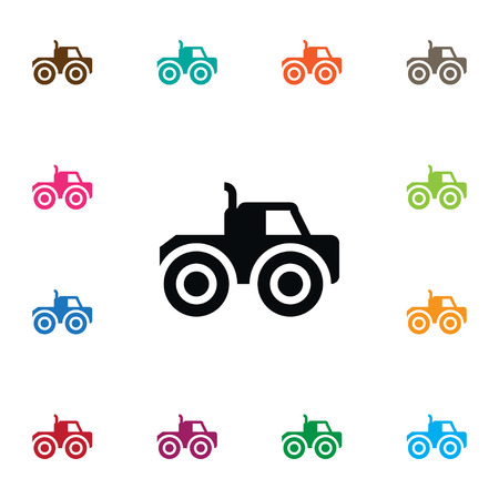 power: Farm Vehicle Vector Element Can Be Used For Farm, Vehicle, Tractor Design Concept.  Isolated Tractor Icon.