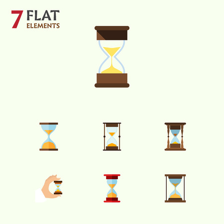 clock: Flat Icon Hourglass Set Of Instrument, Sandglass, Minute Measuring Vector Objects