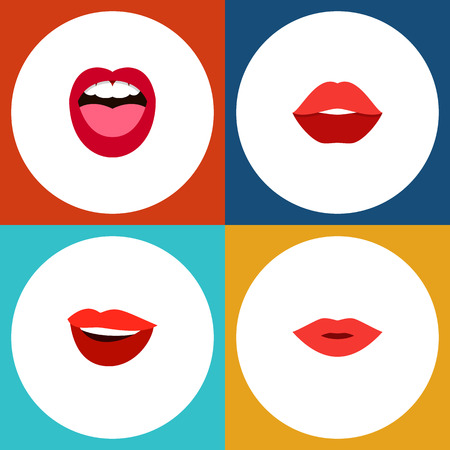 accessory: Flat Icon Mouth Set Of Mouth, Pomade, Tongue And Other Vector Objects Illustration