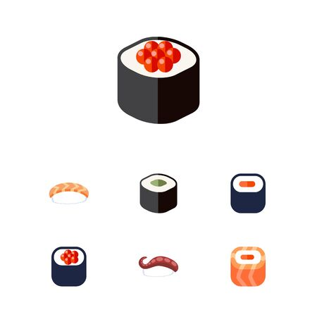 Flat Icon Sushi Set Of Salmon Rolls, Eating, Japanese Food And Other Vector Objects Illustration