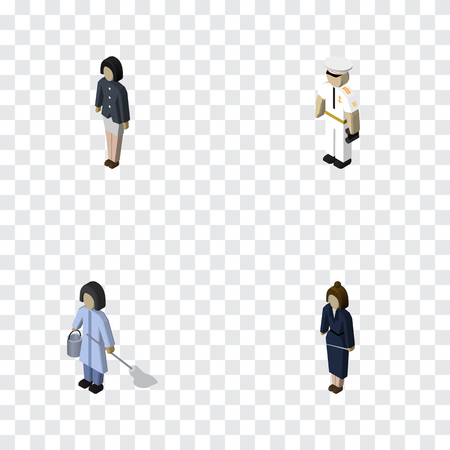 Isometric Person Set Of Businesswoman, Girl, Seaman And Other Vector Objects
