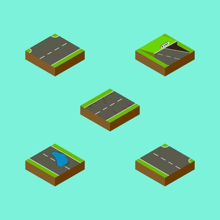 Isometric Way Set Of Upwards, Cracks, Rightward And Other Vector Objects