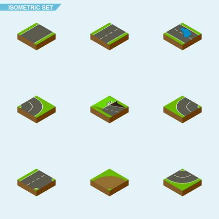 Isometric Road Set Of Plash, Down, Underground And Other Vector Objects Illustration