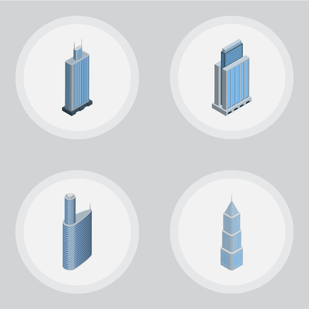 residential: Isometric Skyscraper Set Of Urban, Business Center, Building And Other Vector Objects