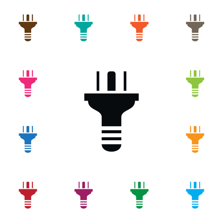 power: Plug Vector Element Can Be Used For Plug, Cable, Wire Design Concept.  Isolated Consumption Icon.