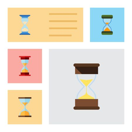 clock: Collection of flat icon hourglass set of clock illustration.