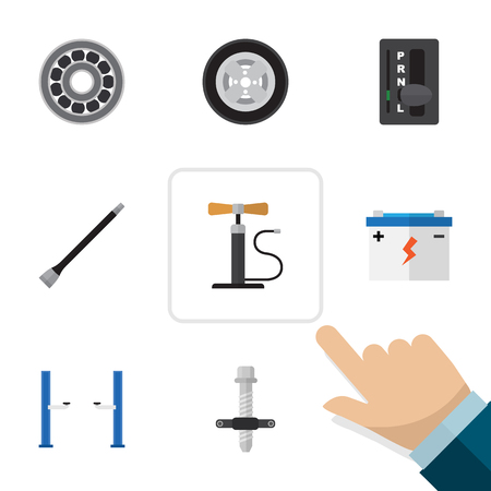 Pipeline, Tire And Other Objects icon Set.