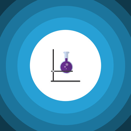 onderwijs: Flask Vector Element Can Be Used For Flask, Test, Tube Design Concept.  Isolated Test Tube Flat Icon. Stock Illustratie