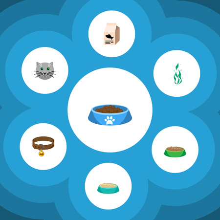 accessory: Flat Icon Pets Set Of Rabbit Meal, Fish Nutrient, Feeding And Other Vector Objects