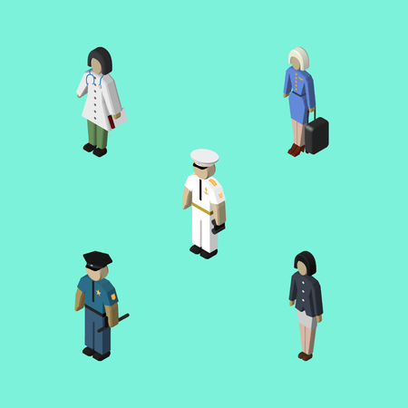 head protection: Isometric Person Set Of Doctor, Hostess, Officer And Other Vector Objects