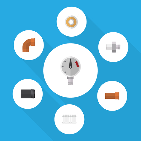 power: Flat Icon Plumbing Set Of Cast, Radiator, Iron And Other Vector Objects