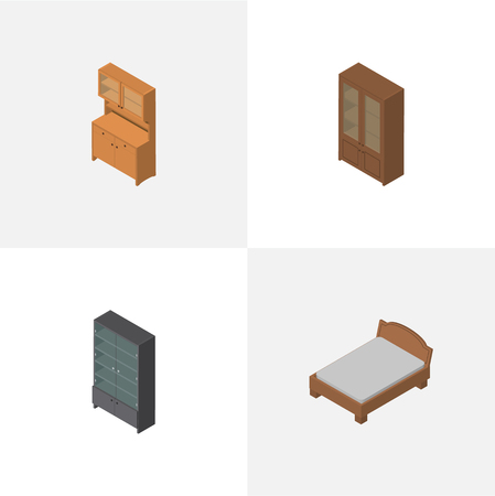 Isometric Design Set Of Bedstead, Cupboard, Cabinet And Other Vector Objects
