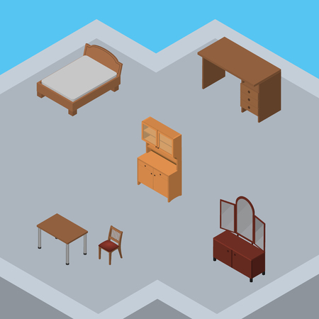 living room: Isometric Furniture Set Of Cupboard, Table, Chair And Other Vector Objects