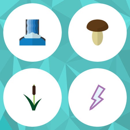 autumn colour: Flat Icon Bio Set Of Cascade, Lightning, Cattail And Other Vector Objects