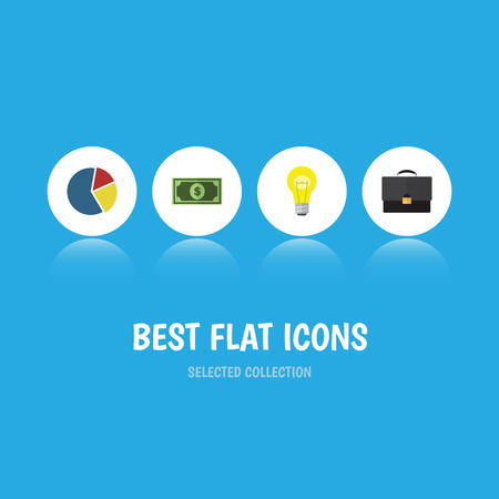 web marketing: Flat Icon Finance Set Of Portfolio, Graph, Bubl And Other Vector Objects Stock Photo