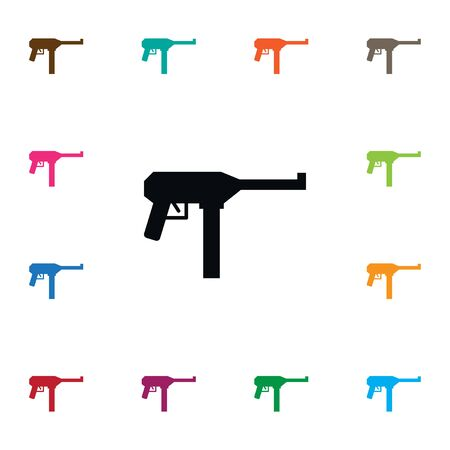 criminal: Gun Vector Element Can Be Used For Gun, Automatic, Weapon Design Concept.  Isolated Icon.
