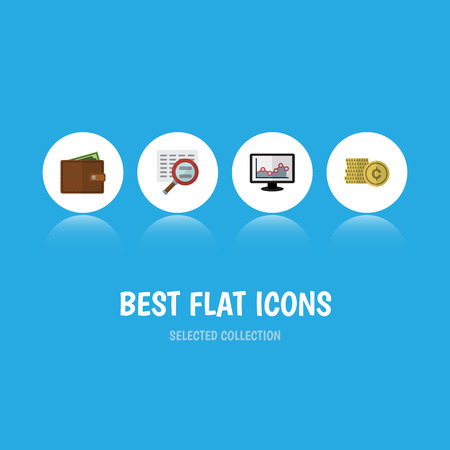 Flat Icon Gain Set Of Cash, Scan, Chart And Other Vector Objects. Also Includes Cash, Chart, Graph Elements.