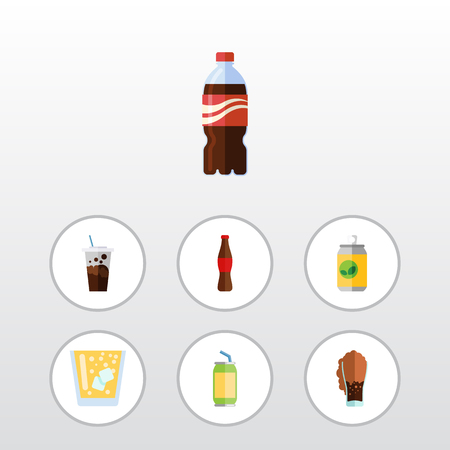 Flat Icon Drink Set Of Juice, Drink, Carbonated And Other Vector Objects. Also Includes Juice, Lemonade, Soda Elements.