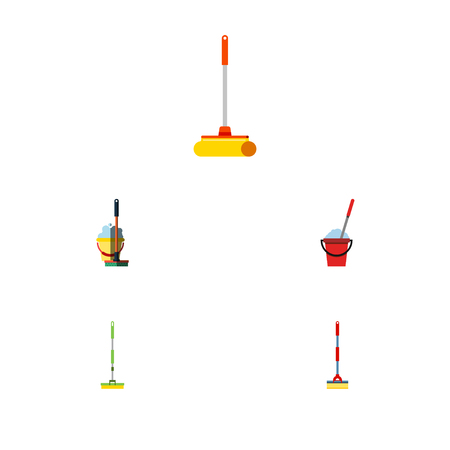Flat Icon Cleaner Set Of Sweep, Cleaner, Mop And Other Vector Objects. Also Includes Cleaner, Sweeper, Broom Elements.