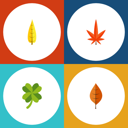 Flat Icon Maple Set Of Aspen, Leafage, Maple And Other Vector Objects. Also Includes Leaf, Oaken, Aspen Elements.