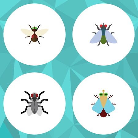 Flat Icon Buzz Set Of Gnat, Fly, Bluebottle And Other Vector Objects. Also Includes Insect, Mosquito, Bluebottle Elements.